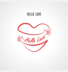 Hello love typographical design elements vector