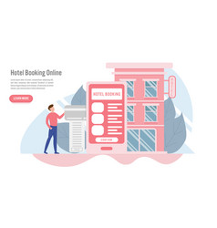 hotel booking online and reservation concept with vector image