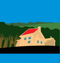 house at edge forest vector image