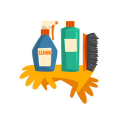 Household cleaning products bottles detergent vector
