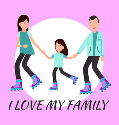 i love my family poster circle for text backdrop vector image