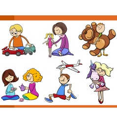 Kids with toys cartoon set vector