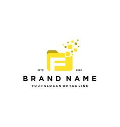 Letter f file folder logo design vector