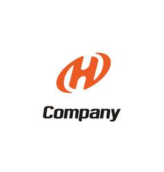 letter initial h oval modern logo design vector image
