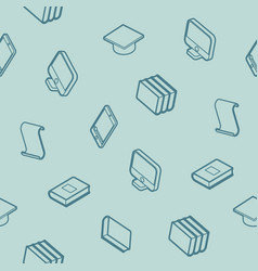 library outline isometric pattern vector image
