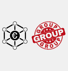 linear euro network icon and grunge group vector image