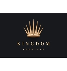 Logo with gold king crown and inscription Kingdom vector