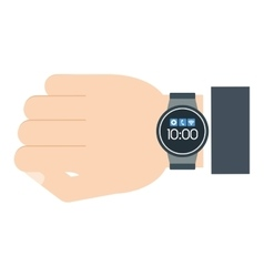 man hand smart watch wearable technology vector image