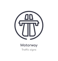 Motorway outline icon isolated line from traffic vector