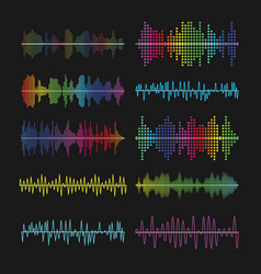 Multicolored graphic equalizer waves soundtrack vector