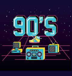 Nineties retro set icons vector