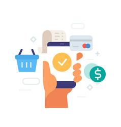 ordering goods via smartphone icon vector image