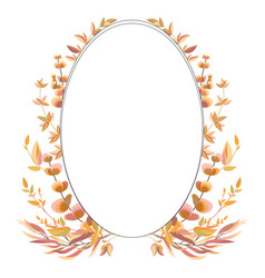 oval frame with autumn leaves and branches vector image