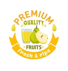 Pear fruit with juice symbol for food design vector image