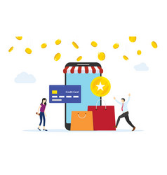 People getting earning point from online shopping vector