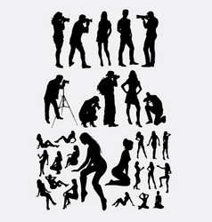photographer and model silhouettes vector image