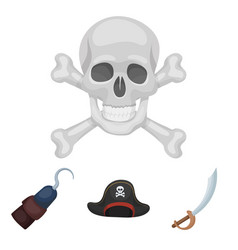 pirate bandit cap hook pirates set collection vector image vector image
