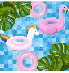 pool floating toys summer card background vector image
