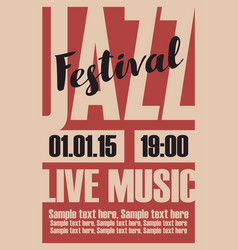 Poster for a jazz festival live music vector