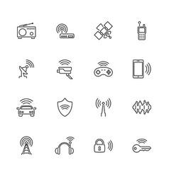 radio - flat line icons vector image
