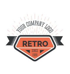 Retro company vintage style logo template vector