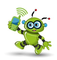 Robot with telephone vector image
