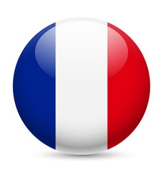 Round glossy icon of france vector image