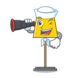 Sailor with binocular floor lamp mascot cartoon vector
