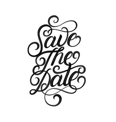 save date hand written lettering vector image