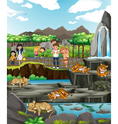 Scene with animals and people at zoo vector