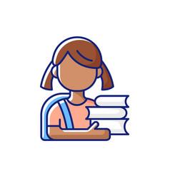 Schoolgirl rgb color icon vector