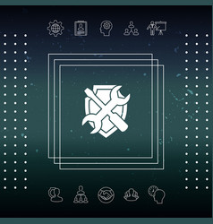 service symbol icon - shield with screwdriver and vector image