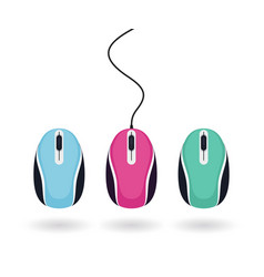 Set bright colored computer mice isolated vector
