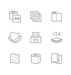 set line icons napkins and toilet paper vector image