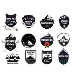 Set mountains logo labels and design elements vector image