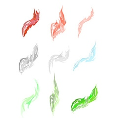 Set of acid fumes and smoke Pink and green smoke vector image