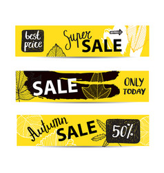 set of autumn sale banners with hand drawn vector image