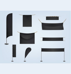 set of black blank textile banners vector image