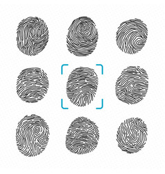 set of different fingerprints police scanner for vector image