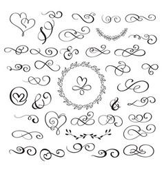 Set of flourish calligraphy vintage hearts and vector