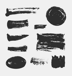 Set of hand drawn paint brush strokes and stains vector
