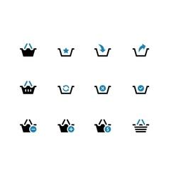 Shopping basket duotone icons on white background vector