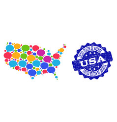 social network map of usa with chat clouds and vector image