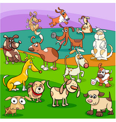 Spotted dogs cartoon characters group vector