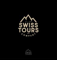 swiss tours company logo mountains peaks vector image