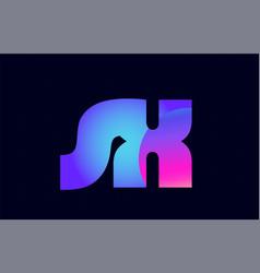 sx s x spink blue gradient alphabet letter vector image