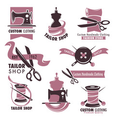 Tailor shop and fashion store promotional emblems vector