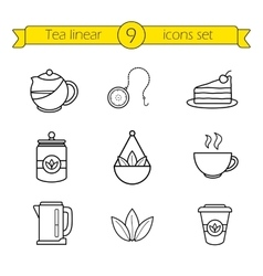Tea accessories linear icons set vector image