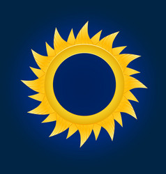 the sun circle on blue sky background vector image vector image