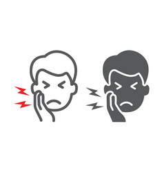 Toothache line and glyph icon body and pain vector